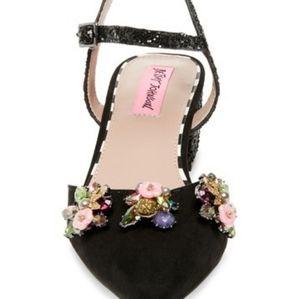Betsey Johnson Embellished Block heels Size 6.5